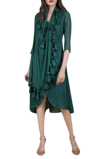 Asymmetric tunic with attached drape