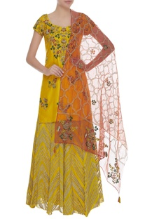 Sequins & Bead Embroidered Kurta Lehenga set