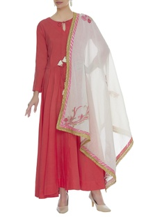 Anarkali with embroidered dupatta
