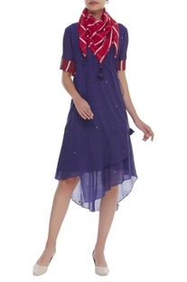 Wrap dress with button tab sleeves