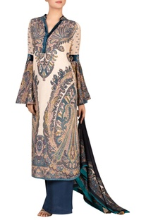 Printed long kurta with palazzo and scarf.