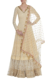 Lucknowi zardozi work anarkali gown with dupatta