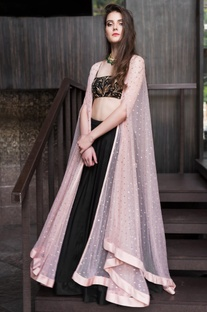 Sequin embroidered cape with crop top & lehenga