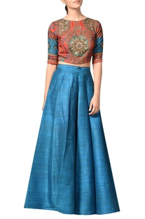 Embroidered blouse with lehenga