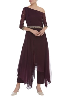 One Shoulder Sequin Embroidered Kurta With Pants