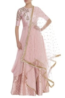 Sequin Embroidered Draped Kurta Lehenga Set
