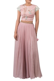 Hand embroidered crop top with pleated lehenga