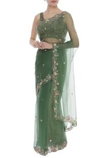 Sequin work sari with blouse