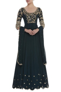 Zardozi embroidered anarkali kurta with dupatta