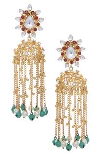 Kundan, bead and stone encrusted earrings