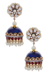 Hand painted jhumkis with kundan & pearls