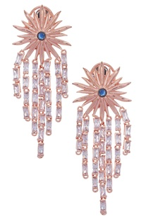 Floral earrings with blue stone & zircon