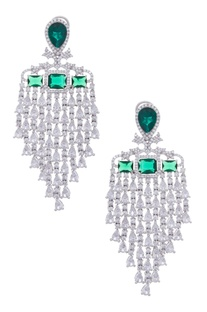 Stone encrusted earrings with emerald stones
