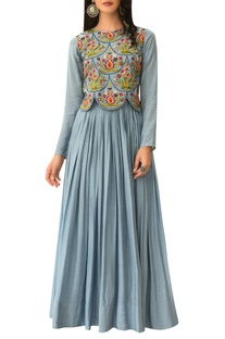 Embroidered scallop bodice anarkali kurta
