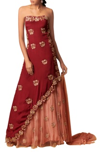 Embroidered lehenga with tube tunic and dupatta