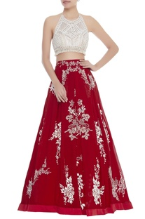 Halter Blouse With Embroidered Lehenga