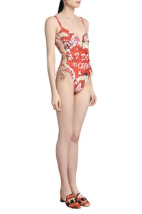Floral printed slogan swimsuit