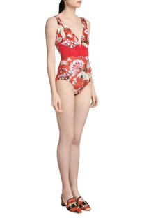 Printed ruched swimsuit