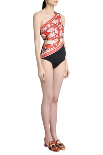 One-shoulder swimsuit with icon band