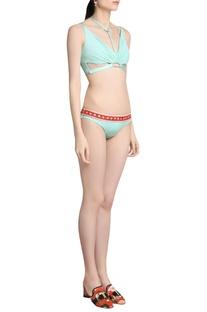 Solid brand icon band bikini set
