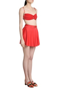 Solid pleated swim skirt cover up