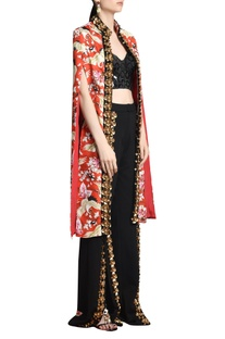 Mughal print & skein work jacket with front clasp