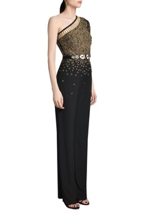 embellished one shoulder jumpsuit