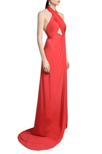 Solid cut-out gown with key-hole detail