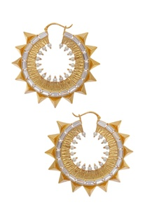 Crystal studded circular earrings