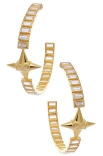 Crystal studded loop earrings