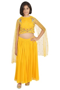 Embroidered blouse with pleated lehenga