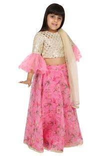 Gota work blouse with printed lehenga and dupatta