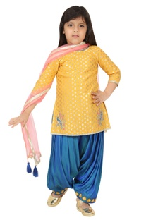 Floral embroidered kurta with dhoti and dupatta