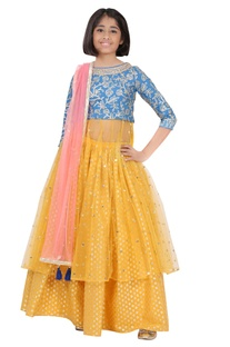 Embroidered kurta with lehenga and dupatta