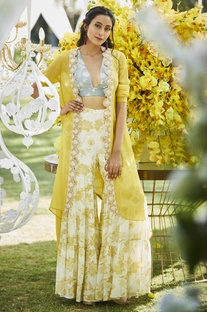 Floral embroidered & printed sharara with crop top & jacket