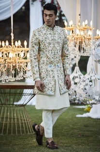 Embroidered sherwani with pants & kurta