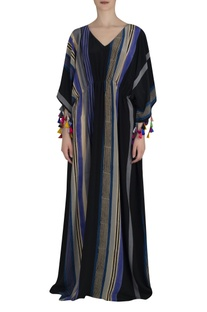 Stripe print kaftan maxi dress
