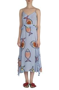 Fish print midi dress