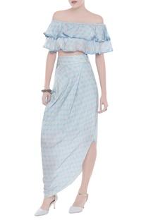 Ruffle printed top with draped skirt