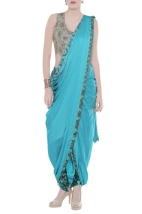 Printed pleated sari with embroidered blouse & pants