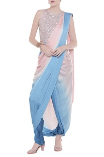 Shaded sari with embroidered blouse & draped pants