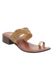 Beaded Open Toe Box Heel sandals