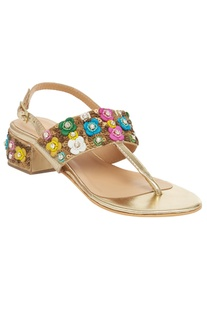 Floral Embroidered Block Heel sandals