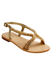 Structured Flat Beaded Sandals