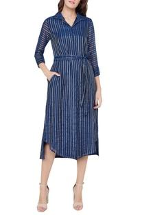 Handwoven midi dress with waist belt