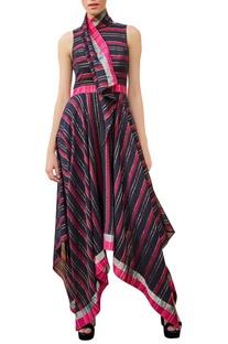Asymmetric scarf collar handwoven dress