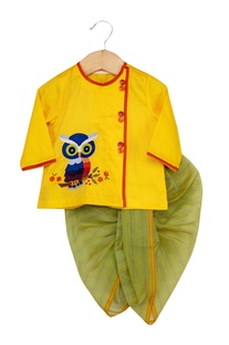 Owl Motif Embroidered Kurta With Dhoti