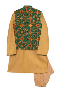 Patola Print Jacket With Kurta & Churidaar