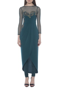 Embroidered draped tunic with pants