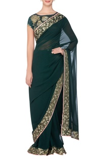 Border embroidered sari with embellished blouse